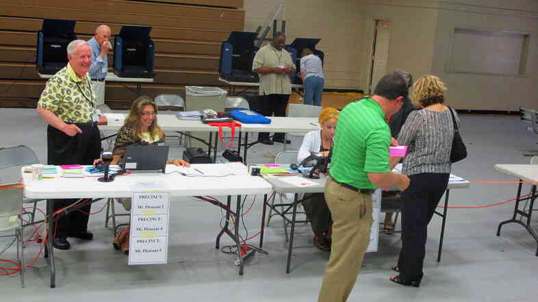 Voters cast ballots Tuesday at a Mount Pleasant, S.C., polling place for the state's primary election.