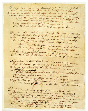 The original manuscript of the Star-Spangled Banner by Francis Scott Key.