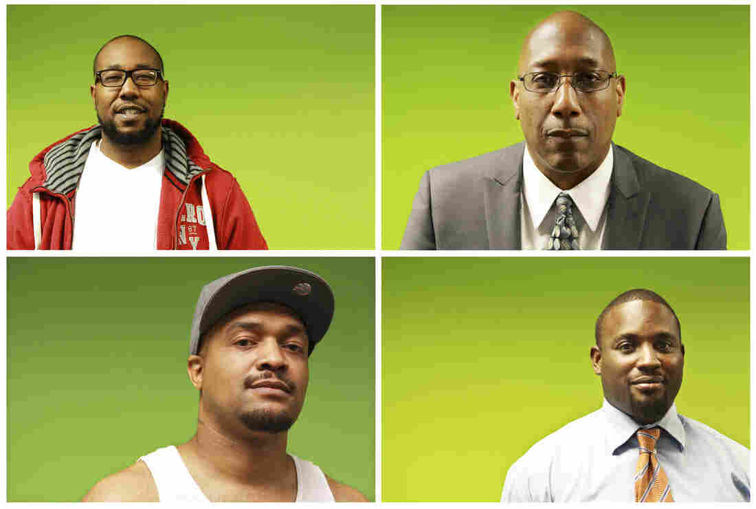 """""""How do you become a man if you've never seen somebody be a man, if the people in your life have abdicated their responsibilities and left you as a little person?"""" -- Joseph Jones, president and founder of the Center for Urban Families (top right). From top left, counterclockwise: class members Kenneth Edwards, Dimitri Maye and LaKeeth Blackmon."""