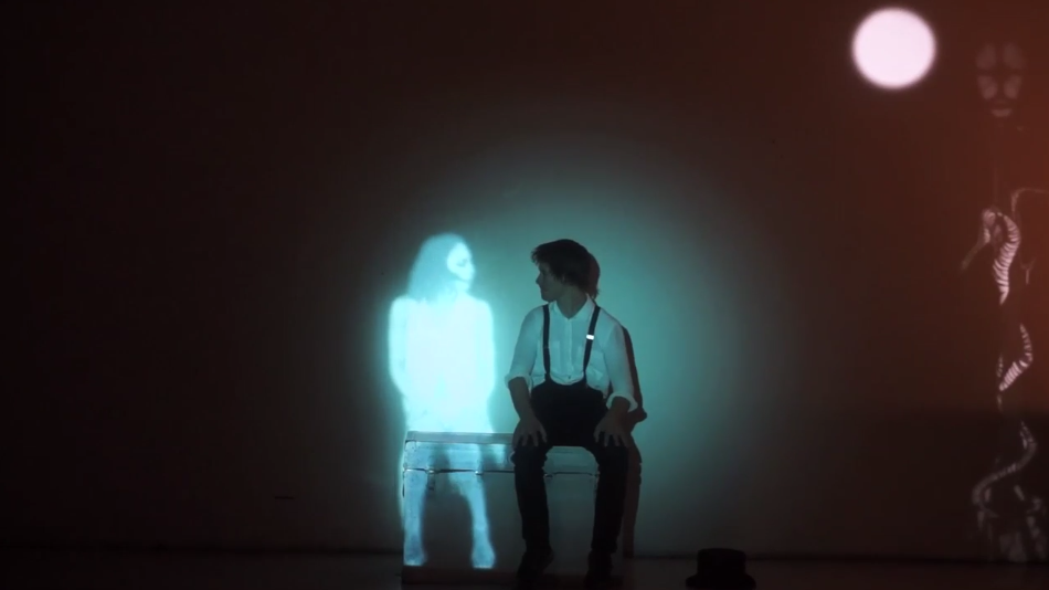 A screen grab from a live projection mapping performance called Transcend the Box.