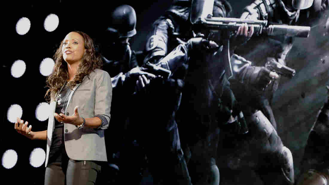 Actress and gamer Aisha Tyler hosted game developer Ubisoft's press conference at the Electronic Entertainment Expo in Los Angeles. The company was recently criticized for not animating female assassins in one of its new games.
