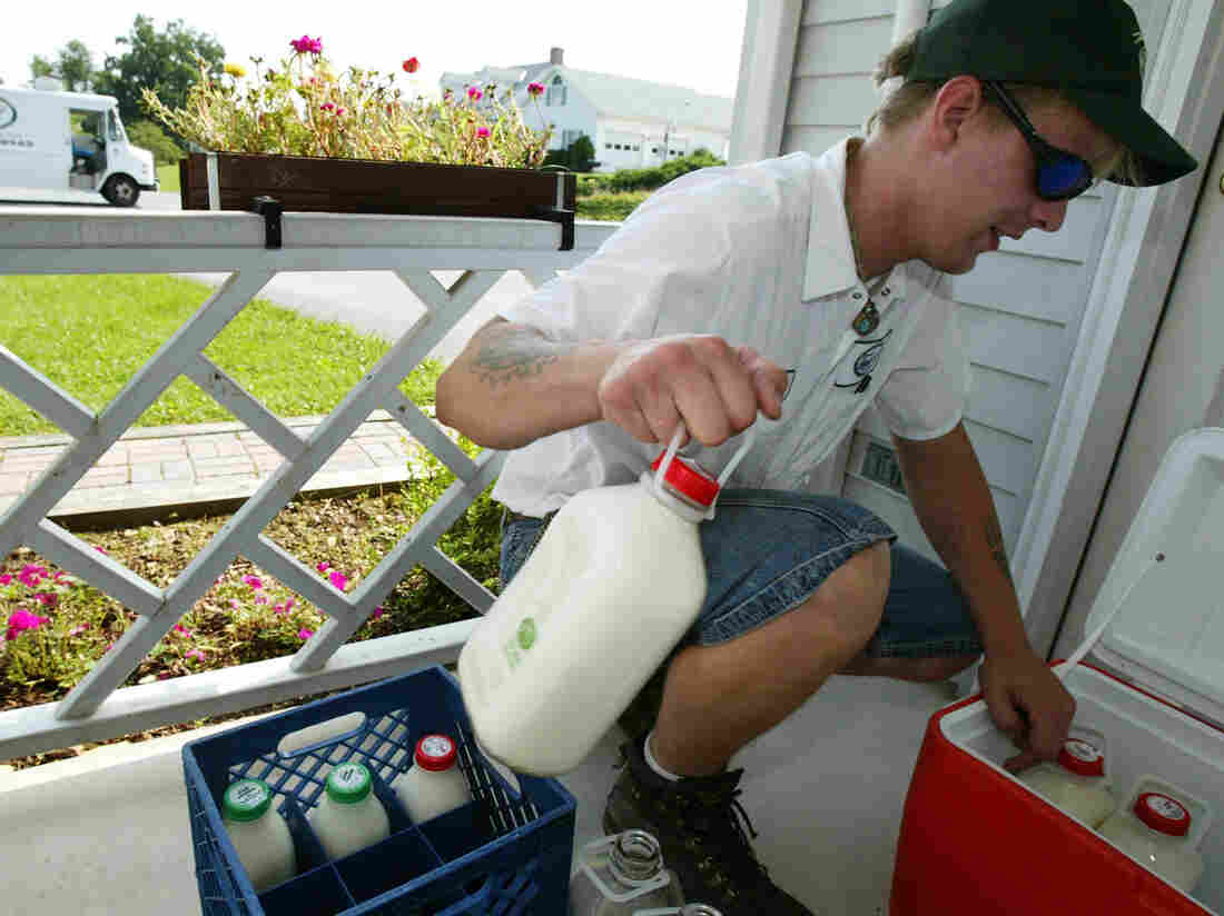 Driver Rick Galloway of South Mountain Creamery delivers milk in Liberty Town, Md., in 2004. Today the company has 8,500 home delivery accounts in five states.