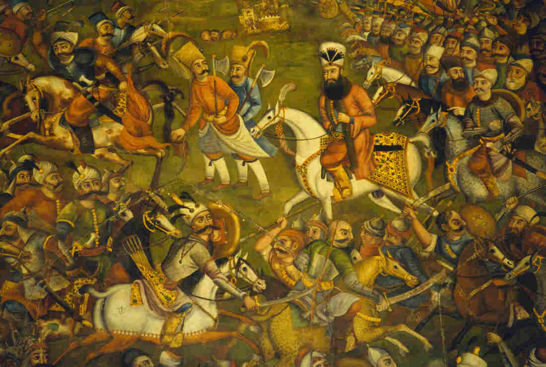 A fresco painting from the Chehel Sotun Pavillion in Isfahan, Iran, depicts Persian warfare during the Safavid dynasty period.