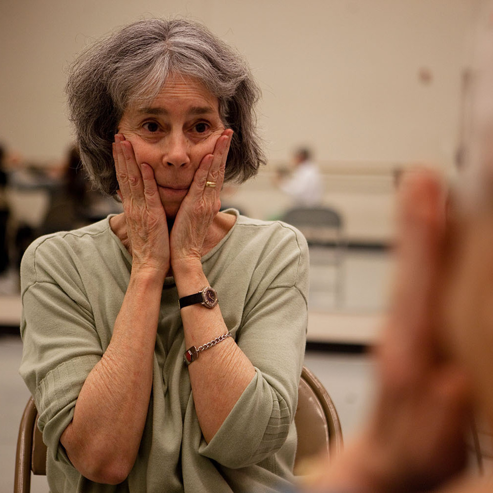 Classmates Anne Davis (left) and Phyllis Richman get in sync with each other during a mirror game in their dance class in Silver Spring, Md.
