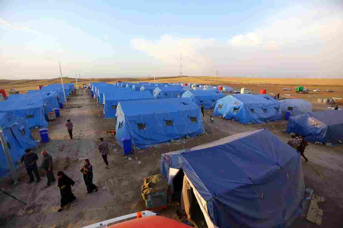 Iraqis displaced from Mosul at Khazir refugee camp outside Erbil on Friday.