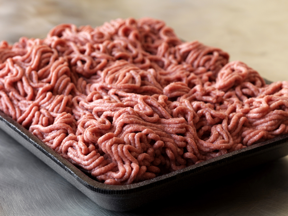 South Dakota-based meat processor Beef Products Inc. shows a sample of its lean, finely textured beef in September 2012. (AP)