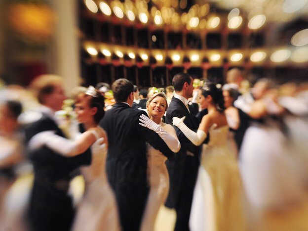 """Debutantes in the opening waltz of the 2011 Vienna Opera Ball. The head of the Vienna Institute for Strauss Research calls the waltz """"Austria's premier cultural export."""""""
