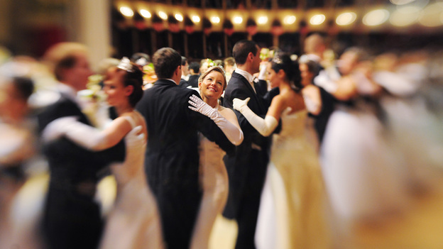 """Debutantes in the opening waltz of the 2011 Vienna Opera Ball. The head of the Vienna Institute for Strauss Research calls the waltz """"Austria's premier cultural export."""" (AFP/Getty Images)"""