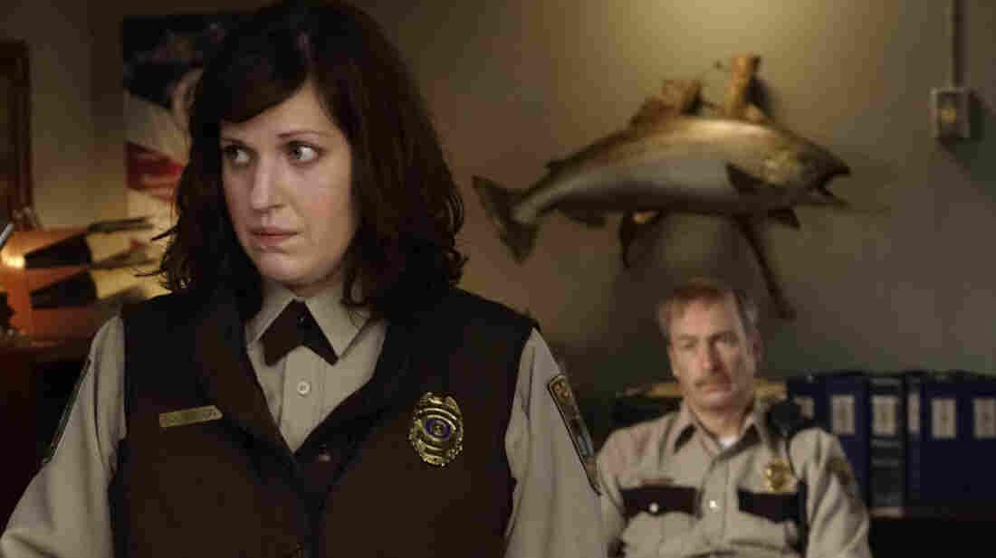Allison Tolman as Molly Solverson and Bob Odenkirk as Bill Oswalt in Fargo.
