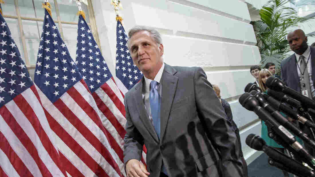 House Majority Whip Kevin McCarthy of California leaves a Republican Conference meeting on Capitol Hill in Washington on Wednesday.