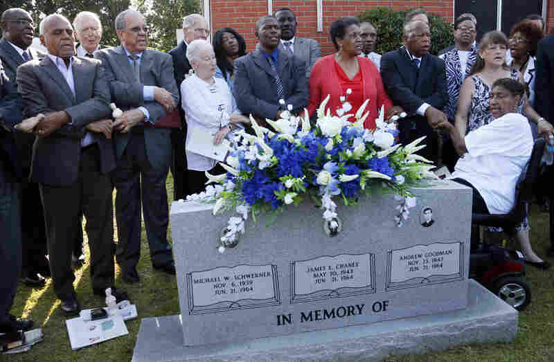 Civil rights activists gather outside Mount Zion Church in Philadelphia, Miss., on Sunday to honor the murdered civil rights workers. From left: Bob Moses, Dave Dennis, Rita Schwerner Bender, Leroy Clemons, Myrlie Evers-Williams and Rep. John Lewis, D-Ga.