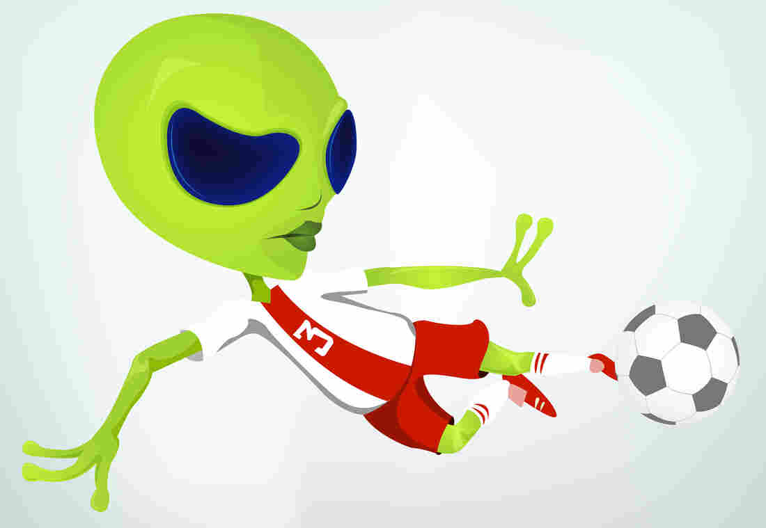 Illustration of a green alien kicking a soccer ball.