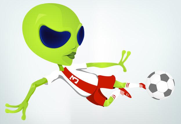 Illustration of a green alien kicking a soccer ball.