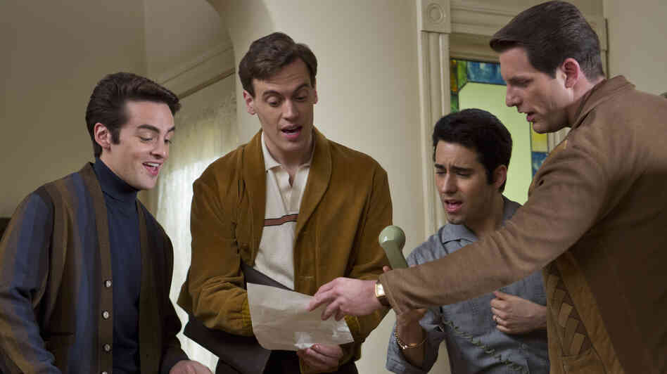 Tommy Devito (Vincent Piazza), Bob Gaudio (Erich Bergen), Frankie Valli (John Lloyd Young) and Nick Massi (Michael Lomenda) make up the scrappy Four Seasons quartet in Jersey Boys.