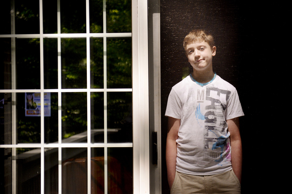 Carson Luke, 13, was injured when he was restrained at a school in Virginia when he was 10 years old. (Sarah Tilotta/NPR)