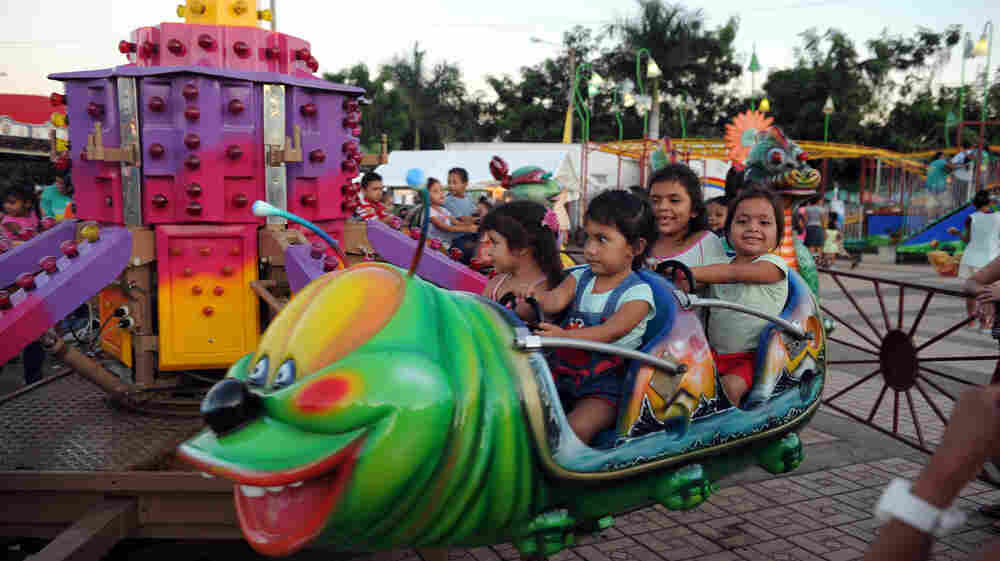 Nicaraguan children have fun at a free playland built by the government in Managua on November 4, 2011.