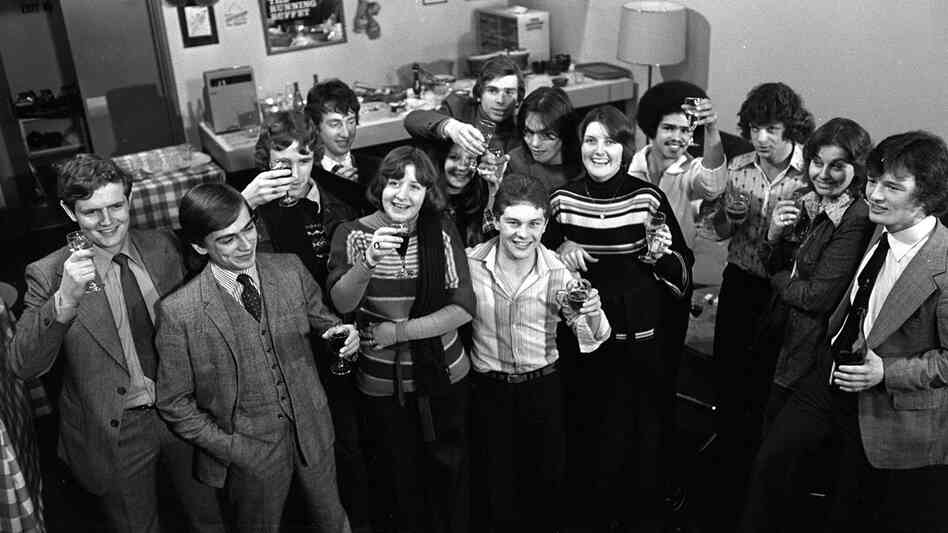 """The men and women from the """"Up"""" series pictured in their 20s. Nick Hitchon is on the far right."""