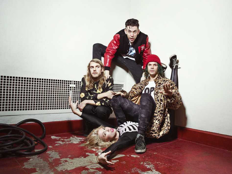 Grouplove is (clockwise from left) Andrew Wessen, Ryan Rabin, Christian Zucconi and Hannah Hooper.