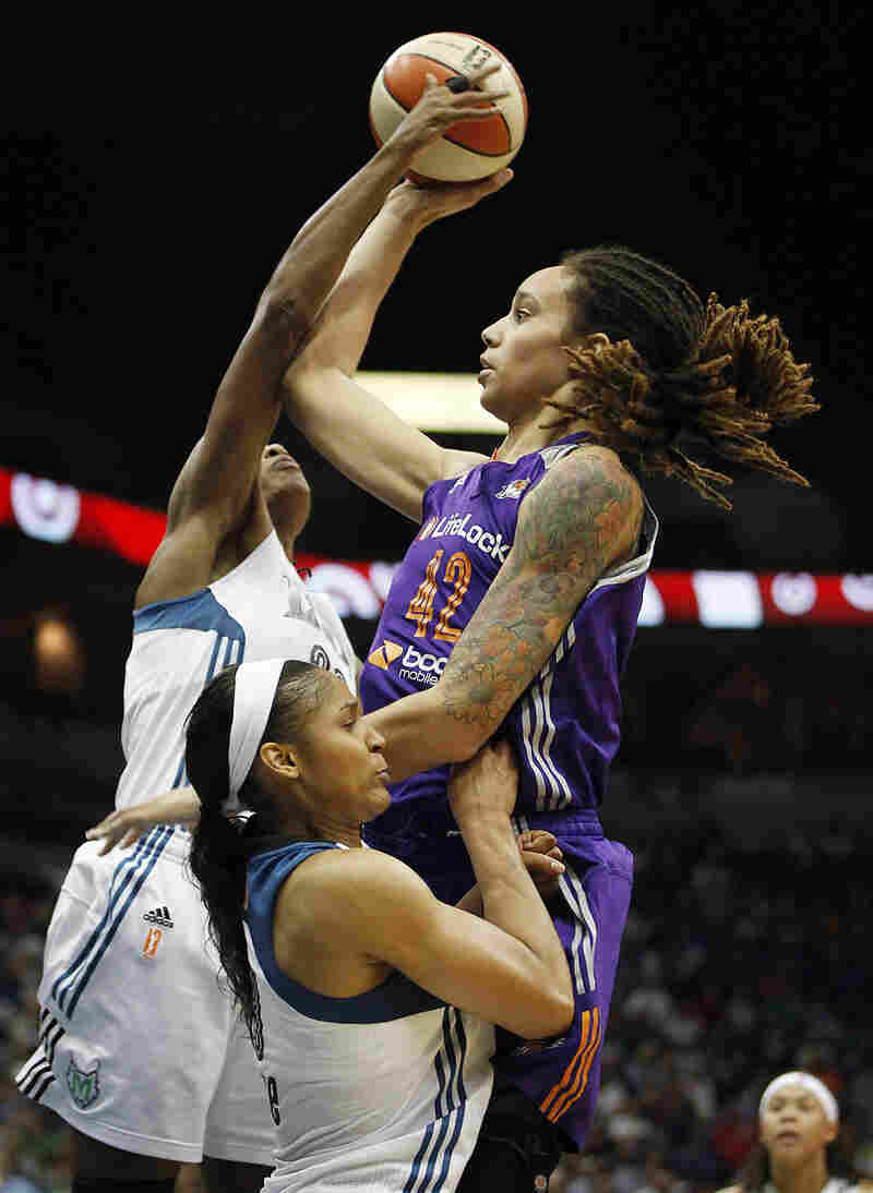 Phoenix Mercury center Brittney Griner (No. 42) is among the WNBA players participating in the league's effort to embrace the LGBT community.