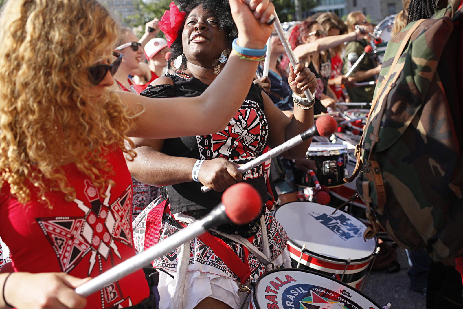 Batala NYC, a group specializing in northeastern Brazilian drumming, dance as they play -- and soon have all the musicians around them moving and grooving, too.