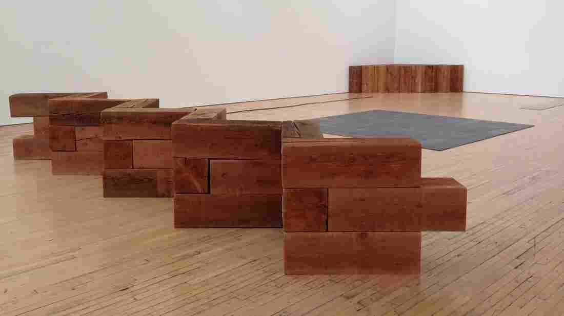 """""""Redan"""" is one of the works of minimalist sculptor Carl Andre on display at his retrospective at the Dia Art Foundation in Beacon, N.Y."""