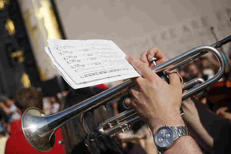 100+ BPM was commissioned by NPR Music. In the month before the premiere, musicians downloaded the score from the websites of NPR Music, Make Music New York, Brooklyn Public Library and Red Baraat, and brought them along in flip books to the performance.