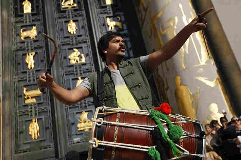 Dhol drummer and composer Sunny Jain wrote 100+ BPM for this occasion, bringing in the signature sounds that fuel his band Red Baraat — a riotous mix of Punjabi bhangra, funk and jazz.