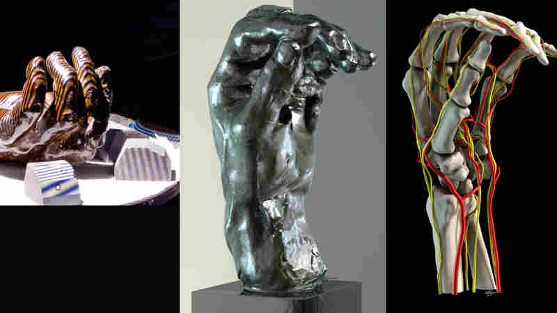Rodin's Left Hand of Eustache de St. Pierre, during the scanning process (from left); computer image created from the scan; inner anatomy; and exterior scan and inner anatomy combined for an augmented reality view of the sculpture.