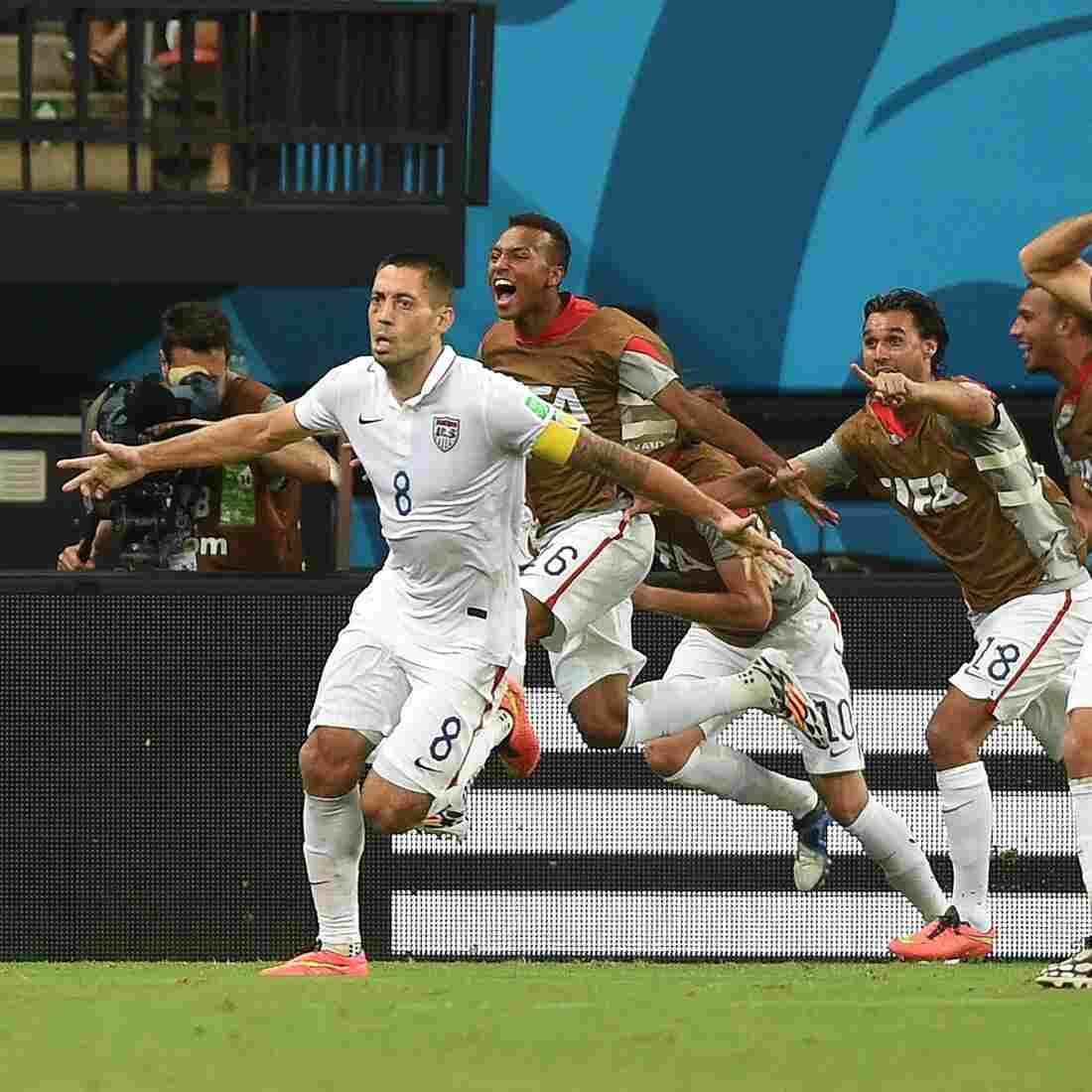 U.S. forward Clint Dempsey (8) celebrates after scoring his team's second goal during a match against Portugal at the Amazonia Arena in Manaus on Sunday.