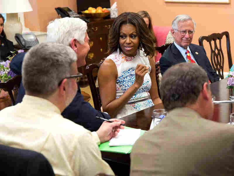 First lady Michelle Obama at a roundtable for reporters in her office in the East Wing of the White House, on June 18.