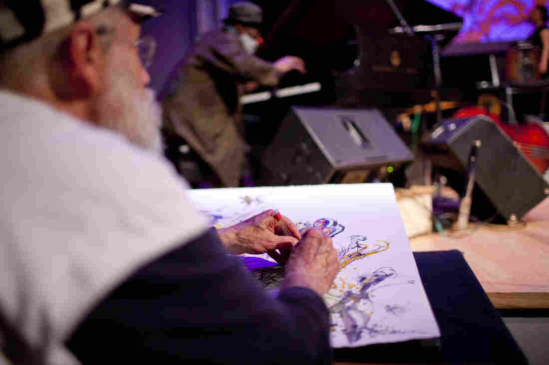 Jeff Schlanger, who paints improvised visual art inspired by musicians on stage, was also honored this year with a lifetime achievement award from Vision Festival.