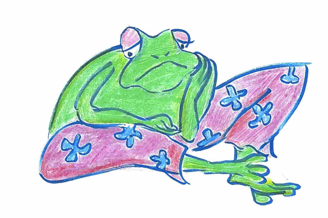 A frog in pants.