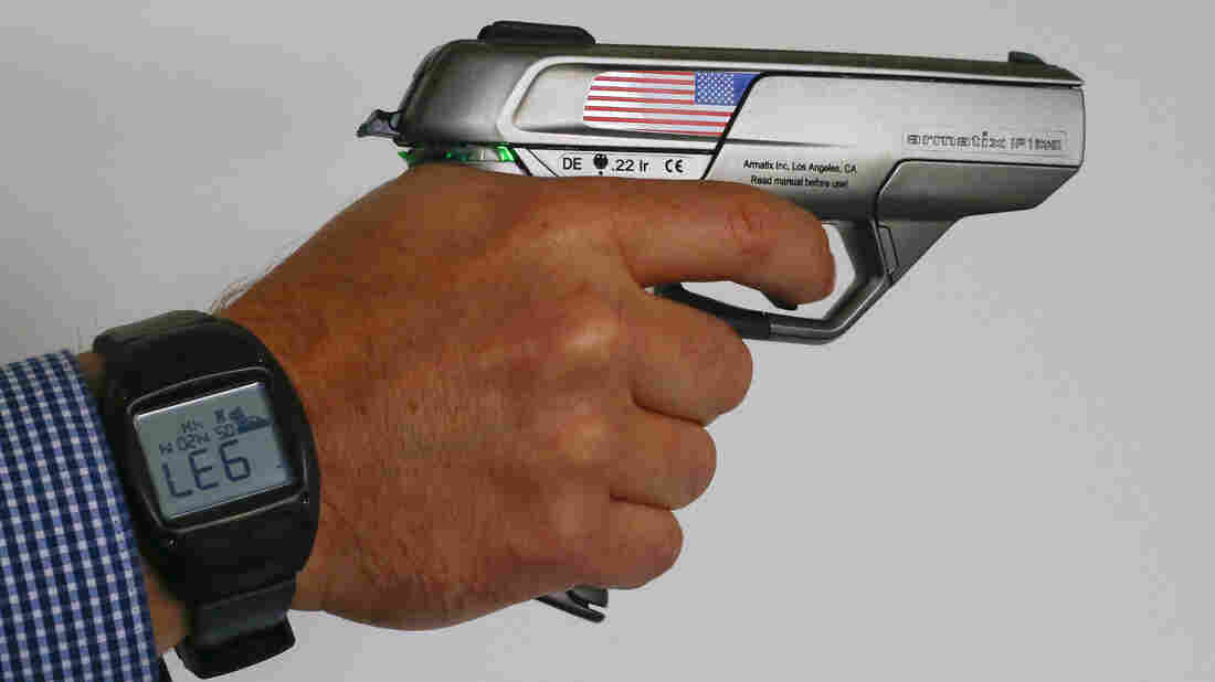 The Armatix smart gun is implanted with an electronic chip that allows it to be fired only if the shooter is wearing a watch that communicates with it through a radio signal. It is not sold in the U.S.