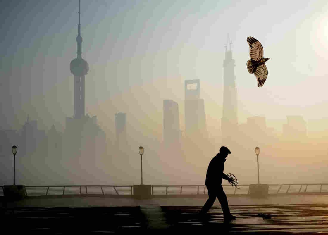 A man flies a kite Dec. 5 at the Bund in Shanghai.