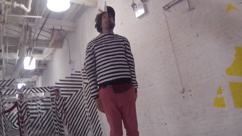 """A behind-the-scenes look at OK Go making their video """"The Writing's on the Wall."""" (Courtesy of the artist)"""