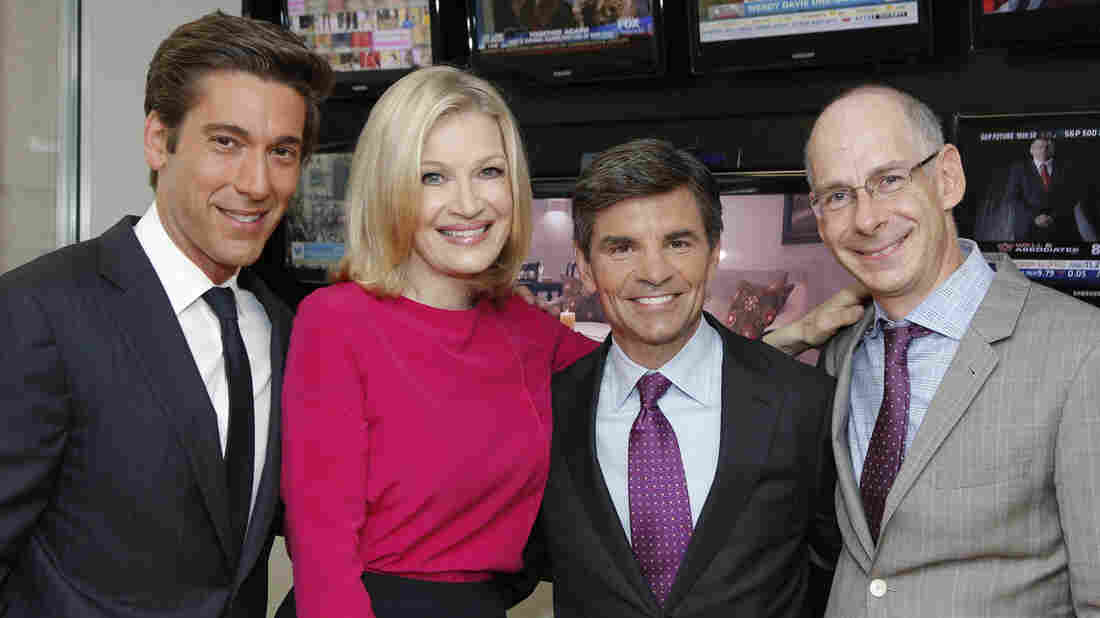 ABC News anchors (from left) David Muir, Diane Sawyer and George Stephanopoulos meet with ABC News President James Goldston.