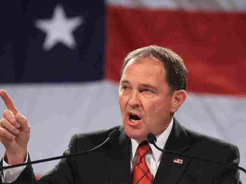 Utah Gov. Gary Herbert addresses a crowd during a rally at the Western Republican Leadership Conference in Sandy, Utah, in April. Herbert reiterated his support of the state's same-sex marriage ban, which was struck down Wednesday by a federal panel.