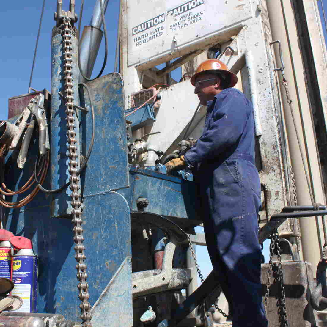Juan de La Cruz operates a drilling rig that is probing for groundwater 2,500 feet beneath Fresno County.