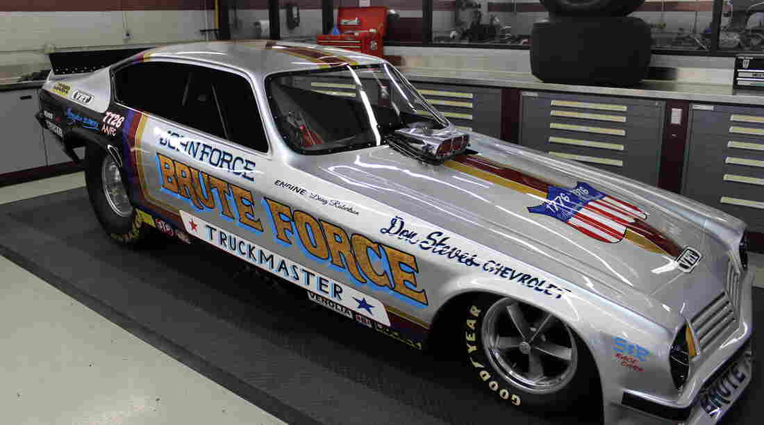 Force's first Funny Cars are on display at the John Force Race Shop in Yorba Linda, Calif.