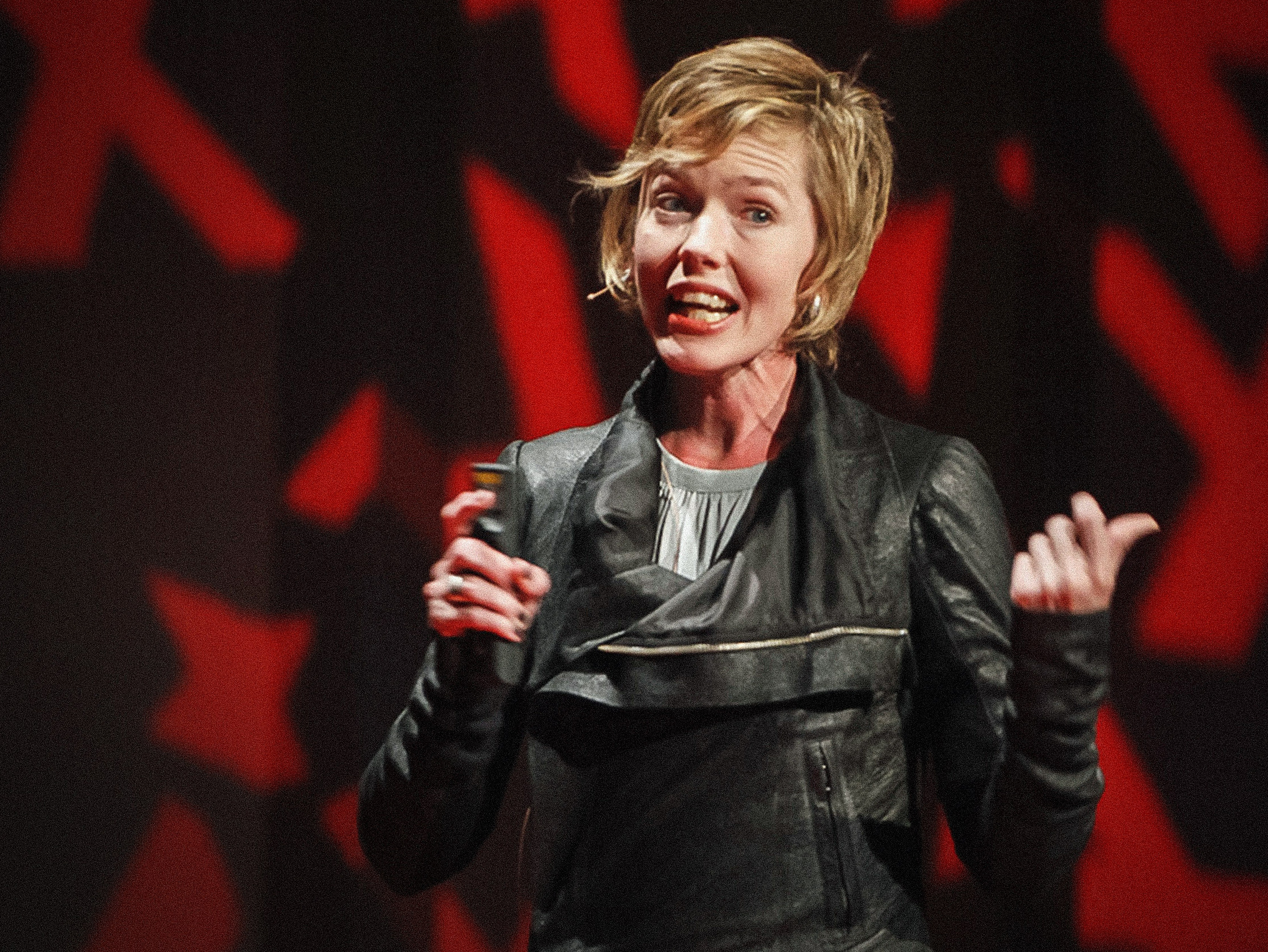 Johanna Blakely on the TED stage.