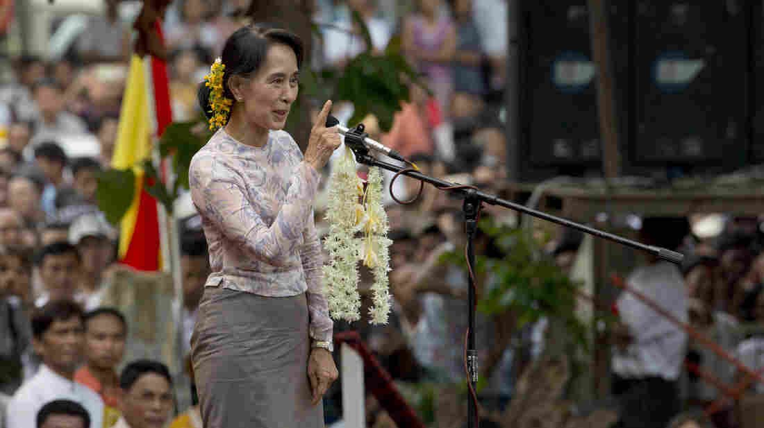 Myanmar opposition leader Aung San Suu Kyi speaks during a public rally in Yangon, Myanmar, on May 17. Democracy activists joined Suu Kyi to call for an amendment to Myanmar's constitution, a move she says is necessary if next year's general elections are to be free and fair.