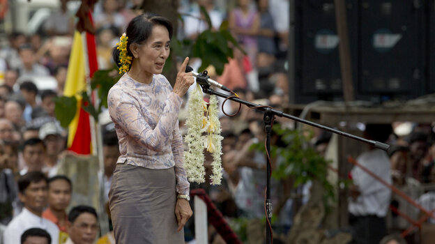 Myanmar opposition leader Aung San Suu Kyi speaks during a public rally in Yangon, Myanmar, on May 17. Democracy activists joined Suu Kyi