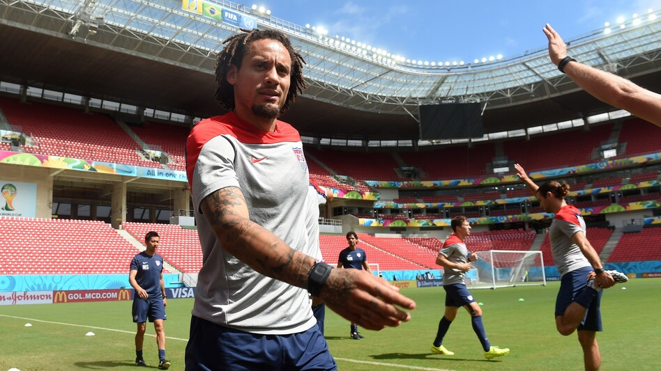 U.S. midfielder Jermaine Jones warms up during a training session at Recife's Pernambuco Arena Wednesday, one day before the Americans face Germany in a decisive Group G soccer match. The game begins at noon, ET. (Patrik Stollarz/AFP/Getty Images)