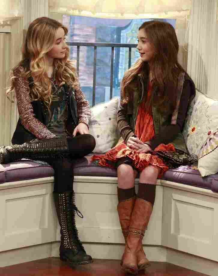 """Rowan Blanchard (right) plays Cory and Topanga's 13-year-old daughter, Riley, and Sabrina Carpenter plays her """"bad"""" best friend, Maya, on Girl Meets World."""