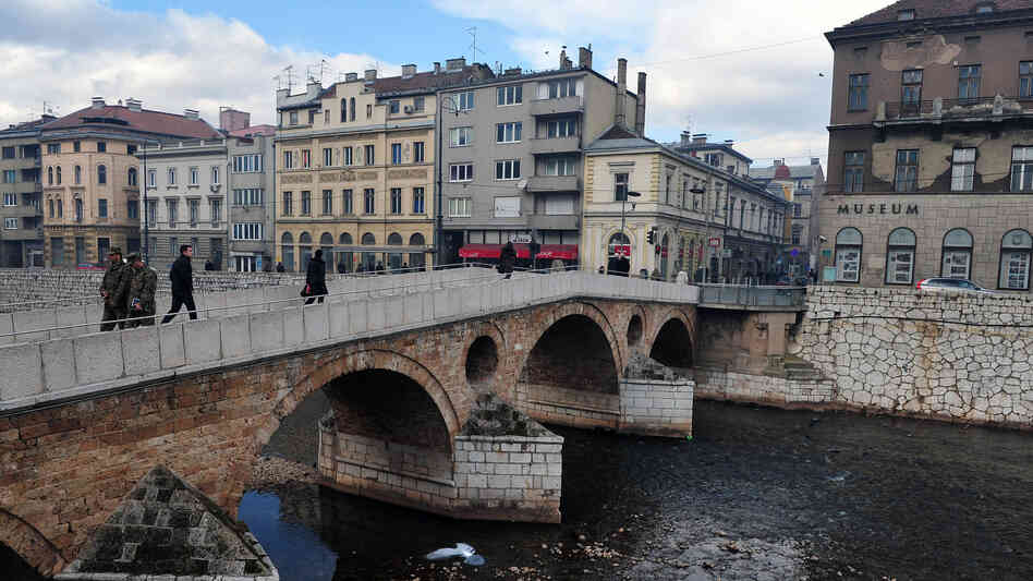 The Latin Bridge in Sarajevo ends at the street corner where Serbian nationalist Gavrilo Princip assassinated Archduke Franz Ferdinand and his wife, Sophie, on