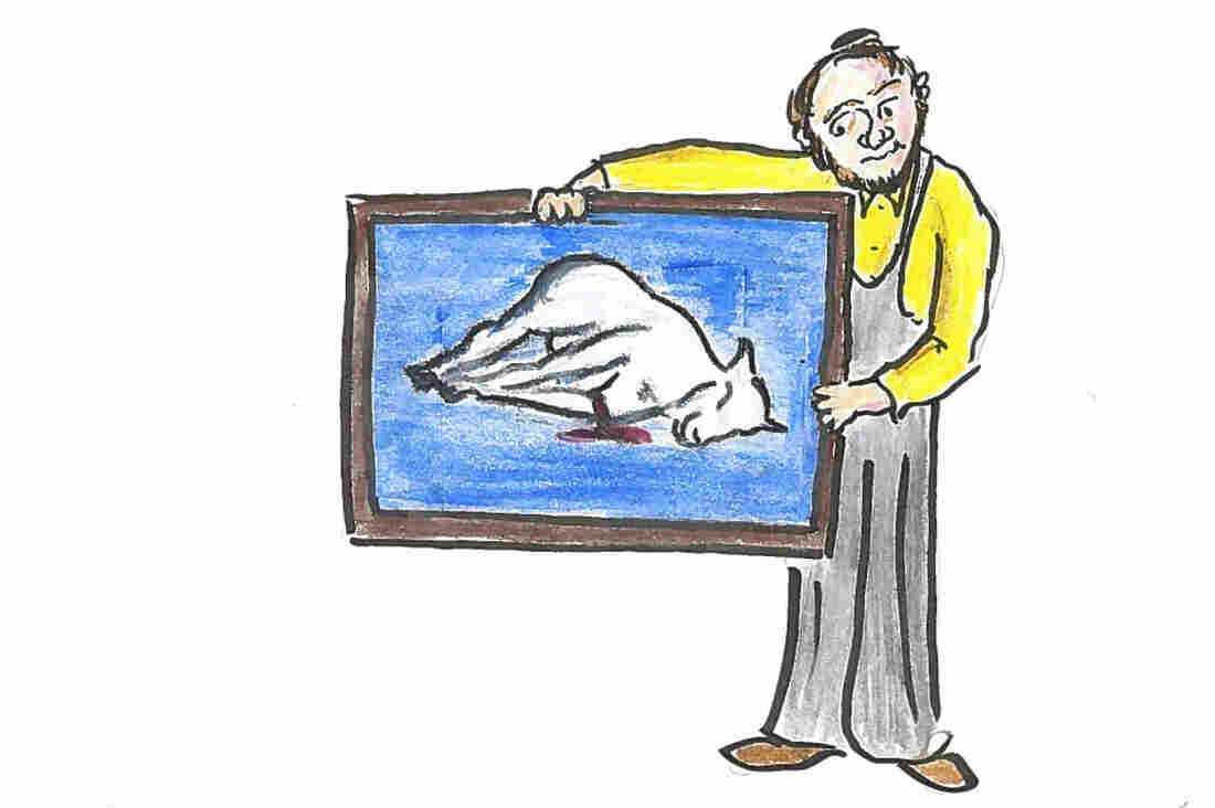 An artist displays painting of a dead sheep.