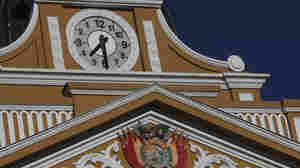 The hands on the clock of the legislative palace in La Paz, Bolivia, are moving left to recover the identity of people living in the Southern Hemisphere, authorities said Tuesday.