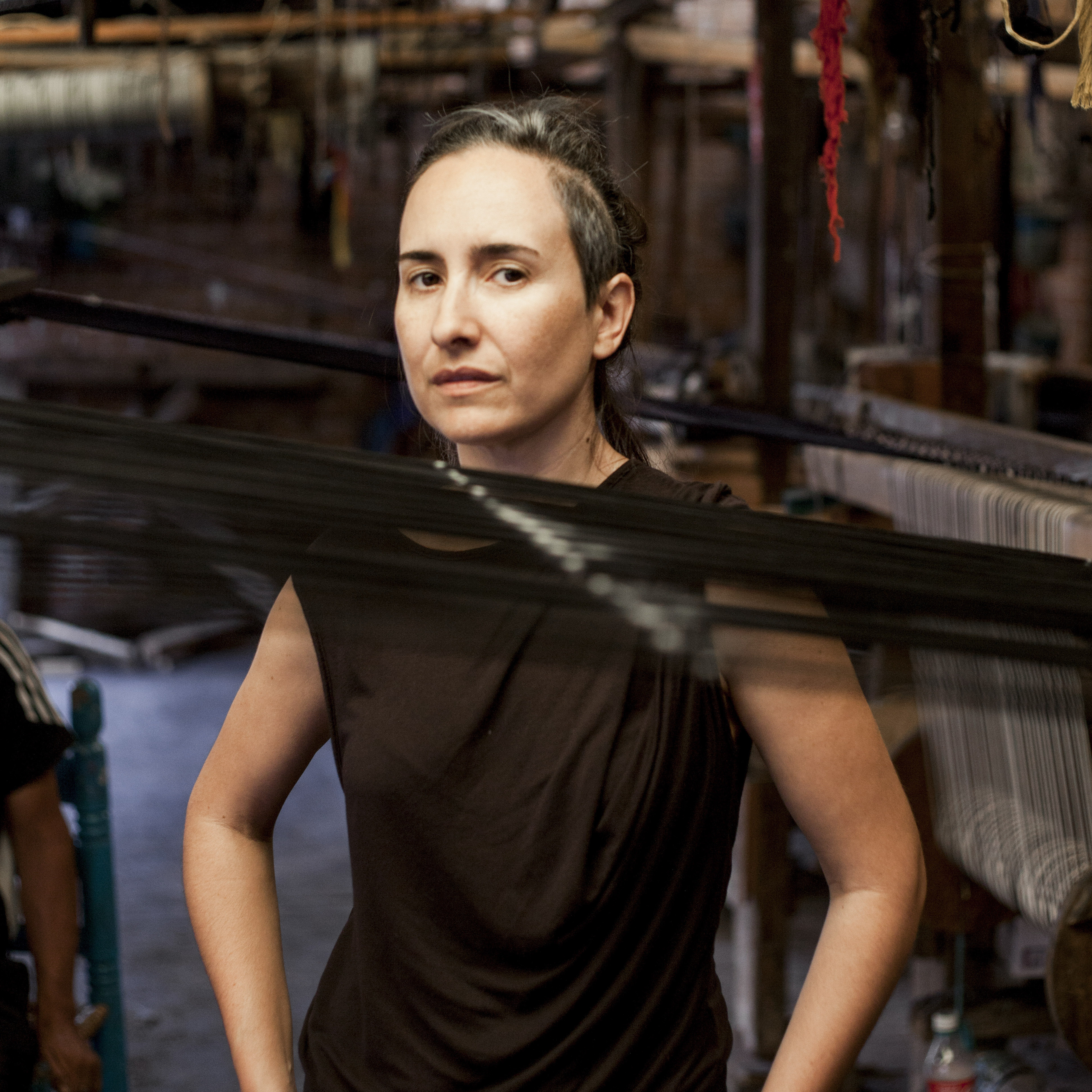 Mexican designer Carla Fernández visits a rebozo workshop in Tenancingo, Mexico. In her work, she uses fabrics made by weavers from across Mexico. The Isabella Stewart Gardner Museum in Boston is exhibiting Fernández's pieces this summer.