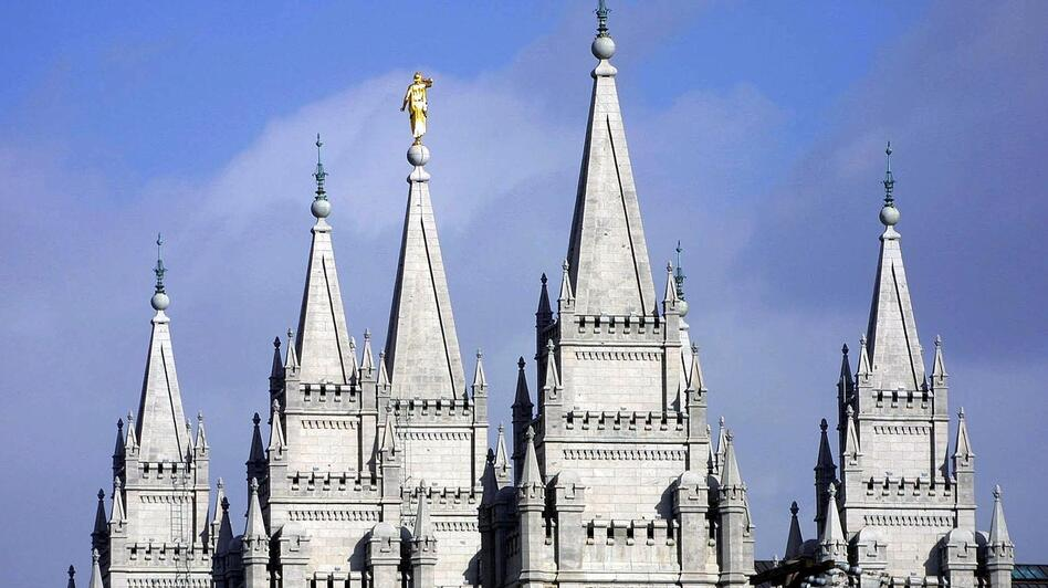 Spires from the Mormon temple in downtown Salt Lake City reach to the sky. (George Frey/AFP/Getty Images)