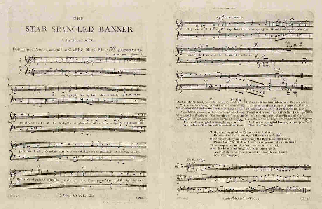"Sheet music of the lyrics and music of the ""Star Spangled Banner"" was first printed at Carrs Music store in Baltimore in 1814. Click here to see the image at hi-res (and to read the other three, lesser-known verses)."